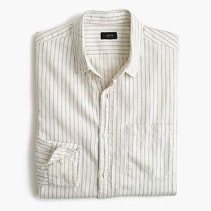 J Crew Slub Cotton Shirt Button Down Stripe Sz L